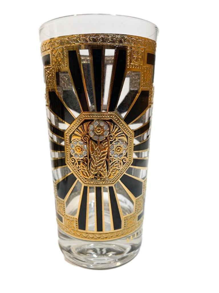 20th Century Vintage Set of 8 Georges Briard Highball Glasses in the Art Deco Pattern For Sale