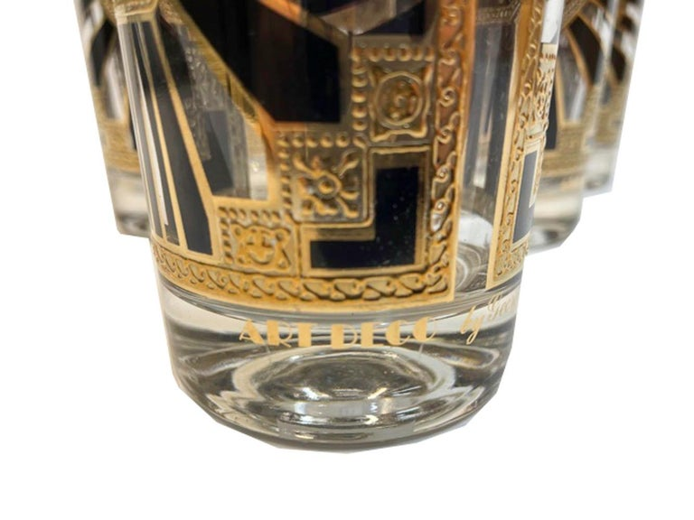 Vintage Set of 8 Georges Briard Highball Glasses in the Art Deco Pattern For Sale 2