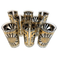 Vintage Set of 8 Georges Briard Highball Glasses in the Art Deco Pattern