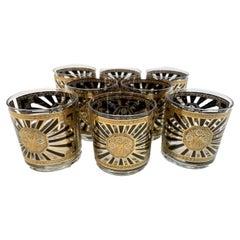 Vintage Set of 8 Georges Briard Rocks Glasses in the Art Deco Pattern