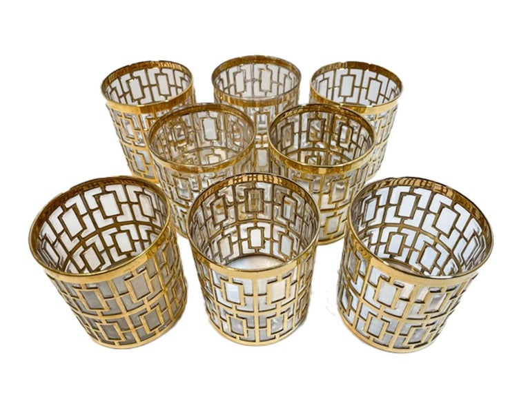 American Vintage Set of 8 Imperial Glass Company Rocks Glasses in the Shoji Pattern For Sale