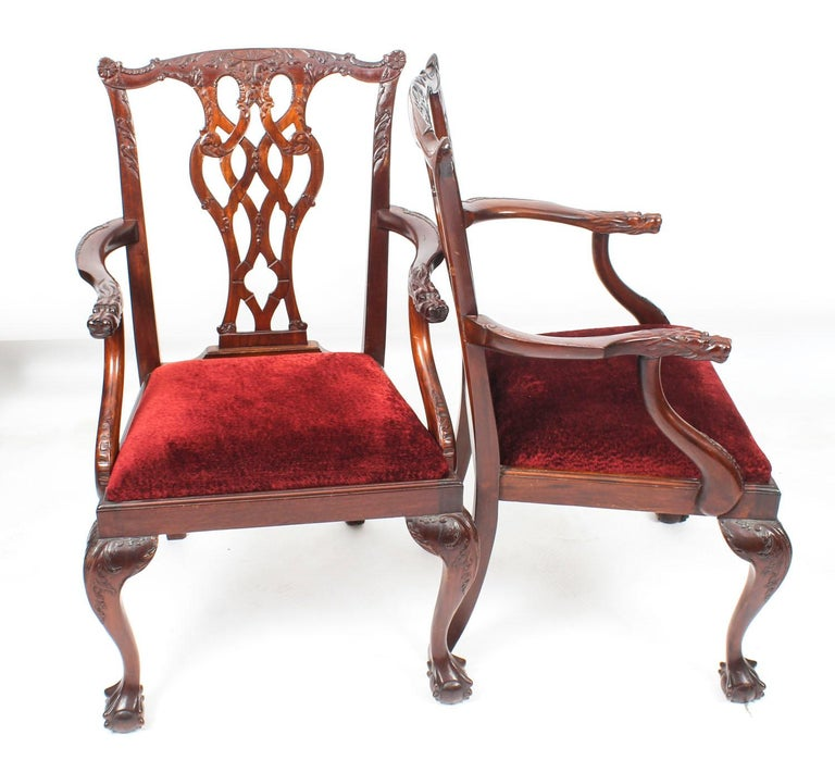 Vintage Set of 8 Mahogany Chippendale Dining Chairs, 20th Century For Sale 7