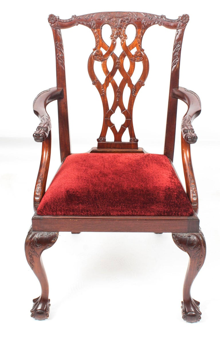 Vintage Set of 8 Mahogany Chippendale Dining Chairs, 20th Century For Sale 8