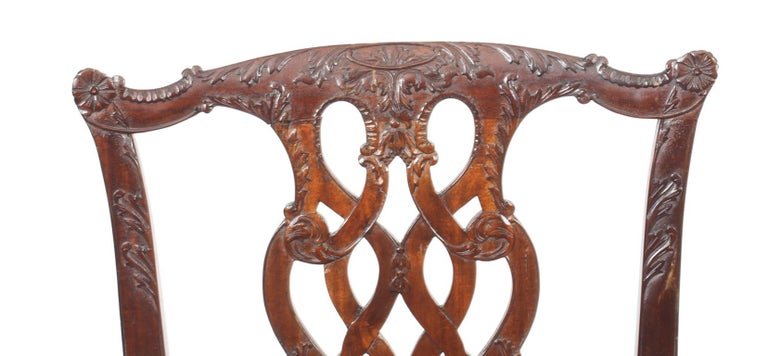 Vintage Set of 8 Mahogany Chippendale Dining Chairs, 20th Century For Sale 9