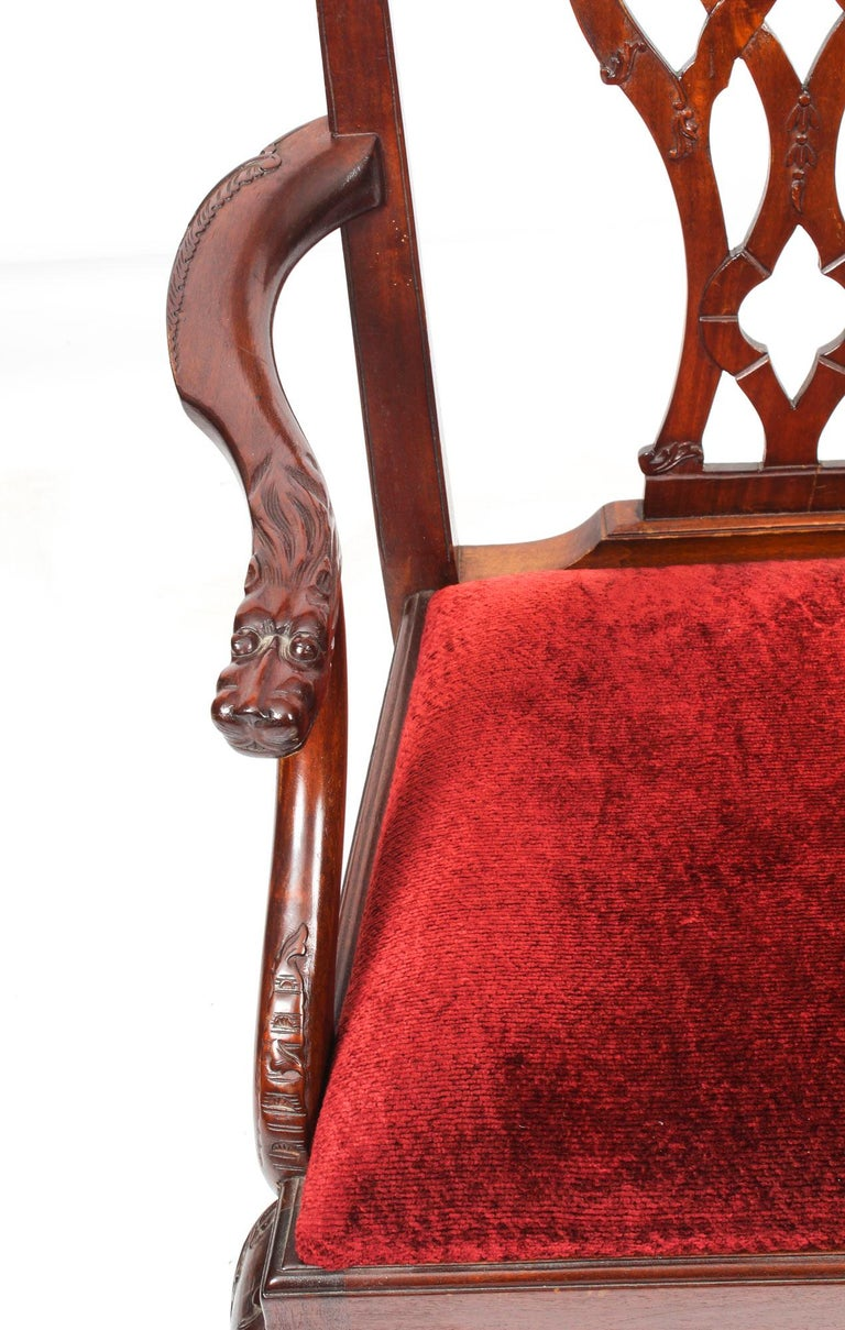 Vintage Set of 8 Mahogany Chippendale Dining Chairs, 20th Century For Sale 12