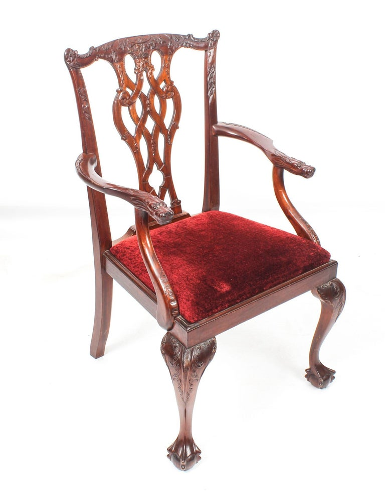 Vintage Set of 8 Mahogany Chippendale Dining Chairs, 20th Century For Sale 14