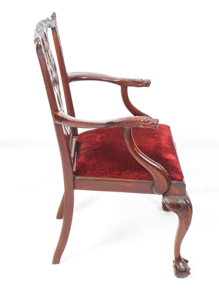 Vintage Set of 8 Mahogany Chippendale Dining Chairs, 20th Century For Sale 15