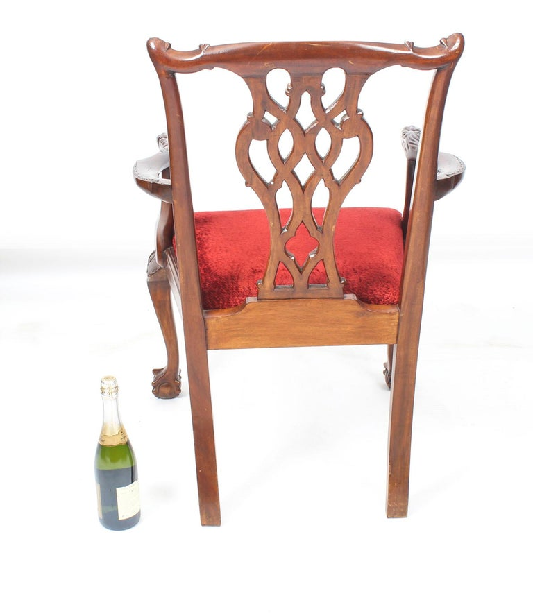 Vintage Set of 8 Mahogany Chippendale Dining Chairs, 20th Century For Sale 16