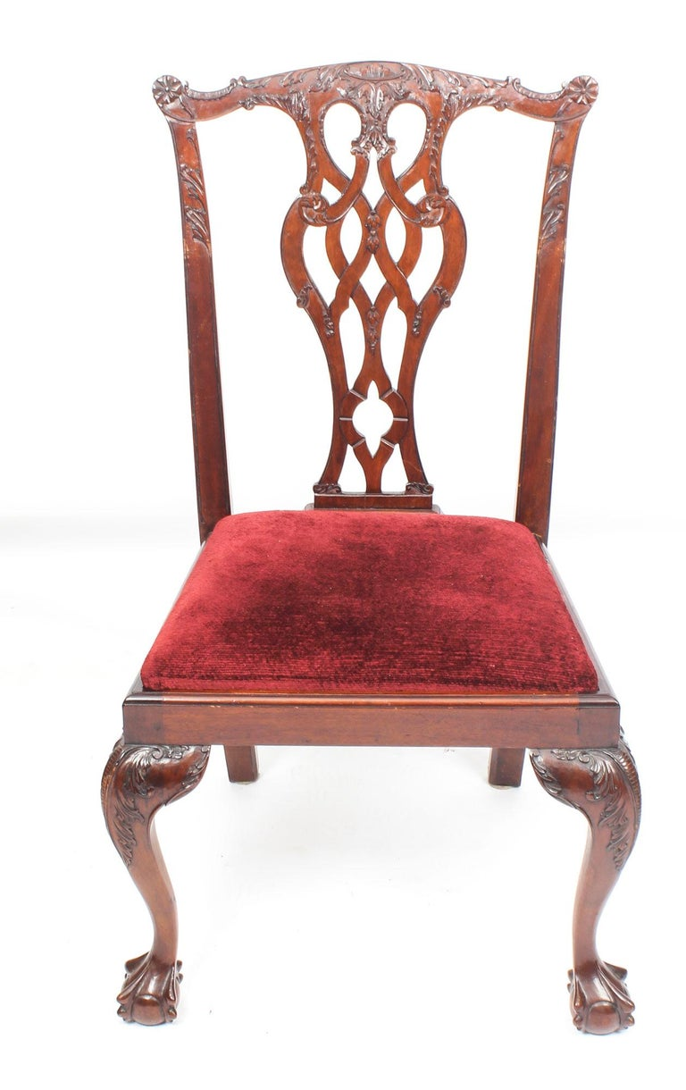 Vintage Set of 8 Mahogany Chippendale Dining Chairs, 20th Century In Good Condition For Sale In London, GB