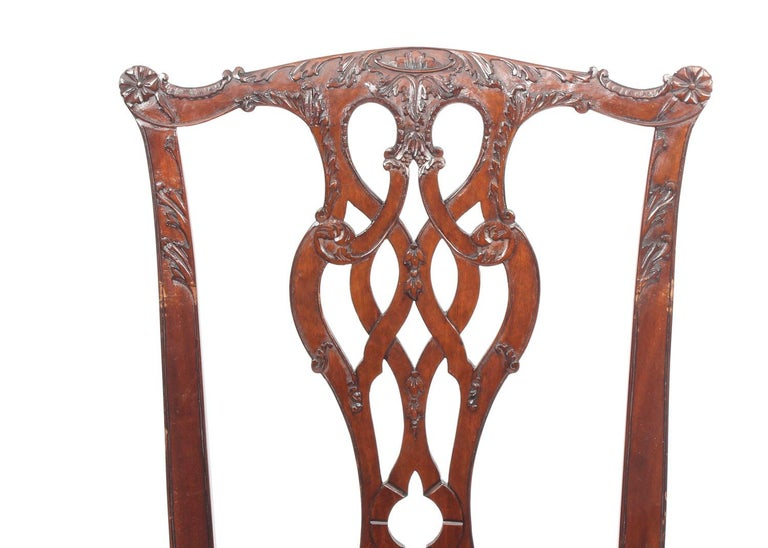 Mid-20th Century Vintage Set of 8 Mahogany Chippendale Dining Chairs, 20th Century For Sale