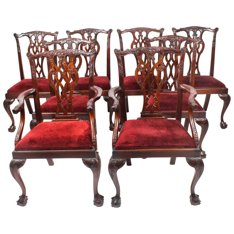 Vintage Set of 8 Mahogany Chippendale Dining Chairs, 20th Century For Sale