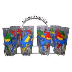 Vintage Set of 8 Multi-Color Parrot Design Glasses with Metal Caddy