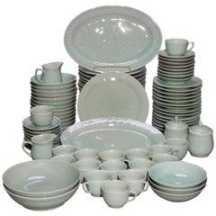 Vintage Set of Chinese Celedon Porcelain Koi Fish Dinnerware, 20th Century
