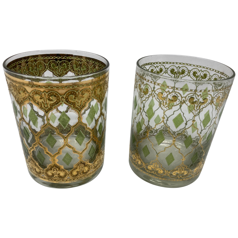 Vintage Set of Culver Lowball Glasses with 22-Karat Gold Valencia Design