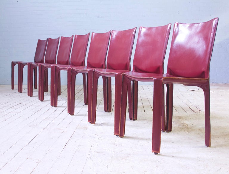 Vintage Set of Eight Bordeaux Leather 412 Cab Chairs by Mario Bellini, 1977 For Sale 6