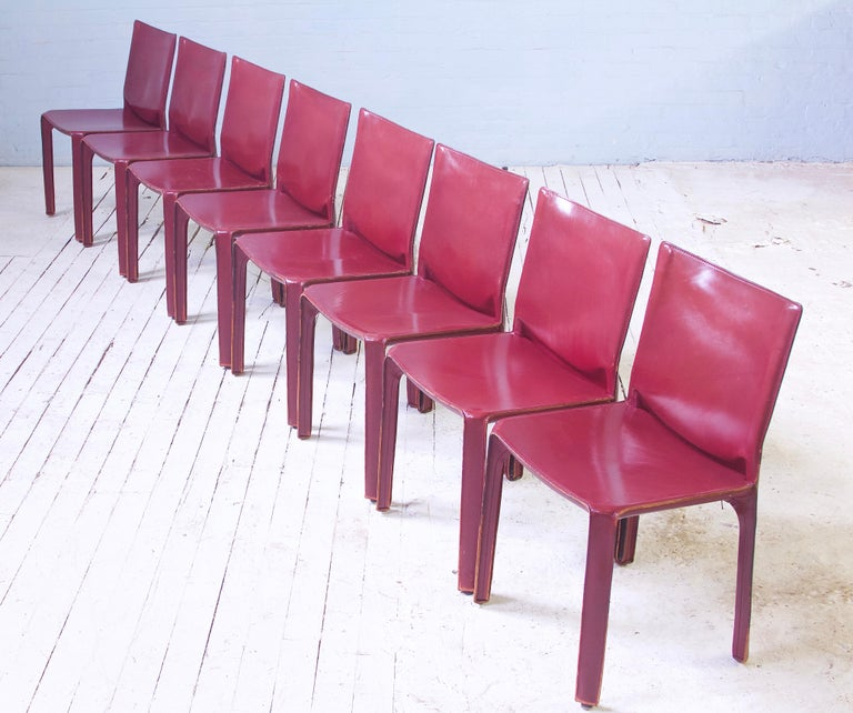Metalwork Vintage Set of Eight Bordeaux Leather 412 Cab Chairs by Mario Bellini, 1977 For Sale