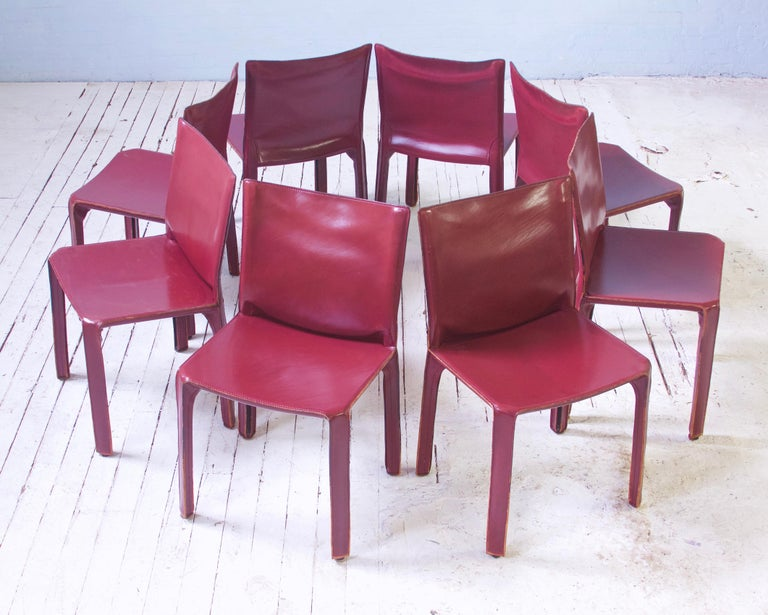 Vintage Set of Eight Bordeaux Leather 412 Cab Chairs by Mario Bellini, 1977 In Good Condition For Sale In Brooklyn, NY