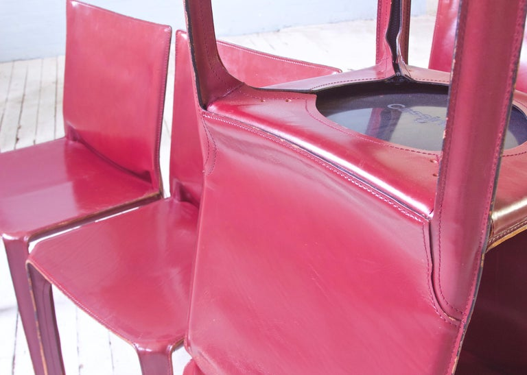 Steel Vintage Set of Eight Bordeaux Leather 412 Cab Chairs by Mario Bellini, 1977 For Sale