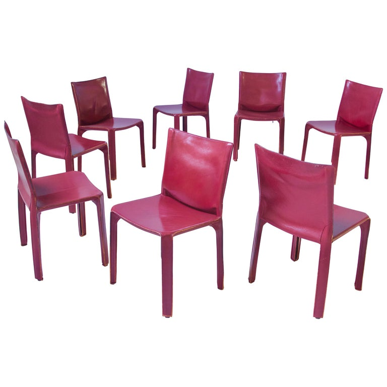 Vintage Set of Eight Bordeaux Leather 412 Cab Chairs by Mario Bellini, 1977 For Sale