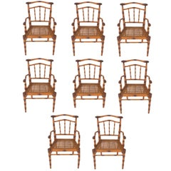Vintage Set of Eight Carved Wood Faux Bamboo Chairs