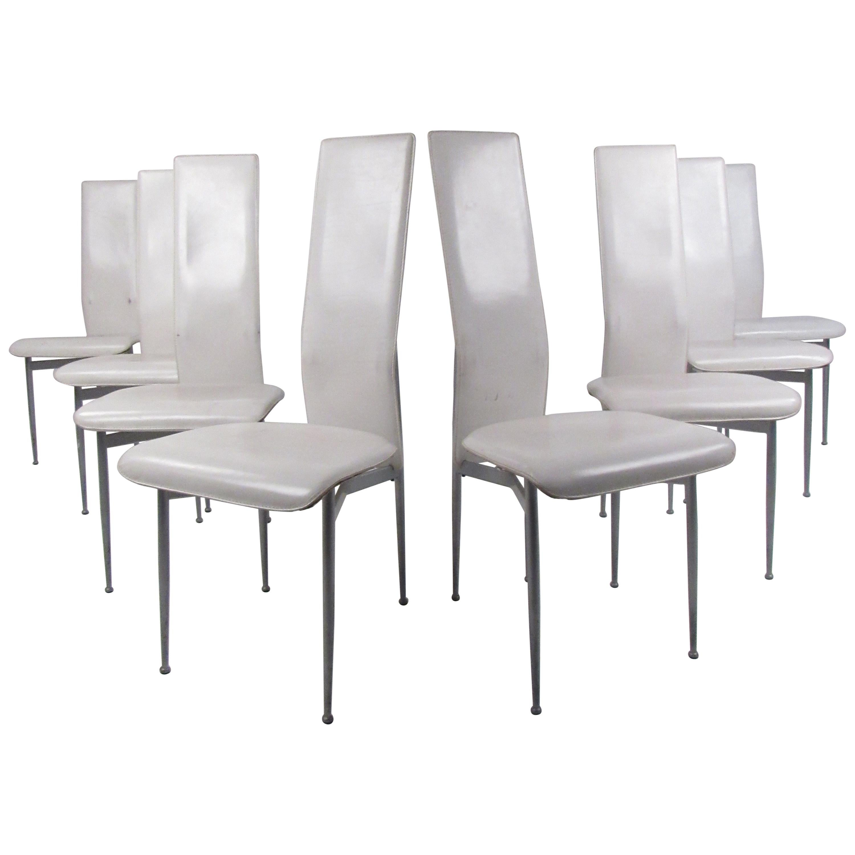 Vintage Set of Eight Italian Modern Leather High Back Dining Chairs