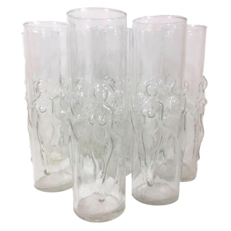 """Vintage Set of Eight Libbey Molded Glass """"Le Femme"""" Zombie Glasses"""