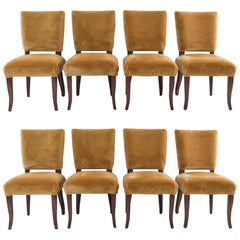 Vintage Set of Eight Side Chairs in Silk Velvet