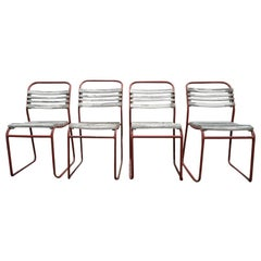 Set of European Metal and Wood Outdoor/ Dining Chairs