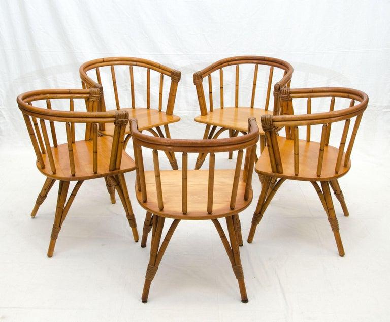 Mid-Century Modern Vintage Set of Five Captains Chairs, Heywood Wakefield