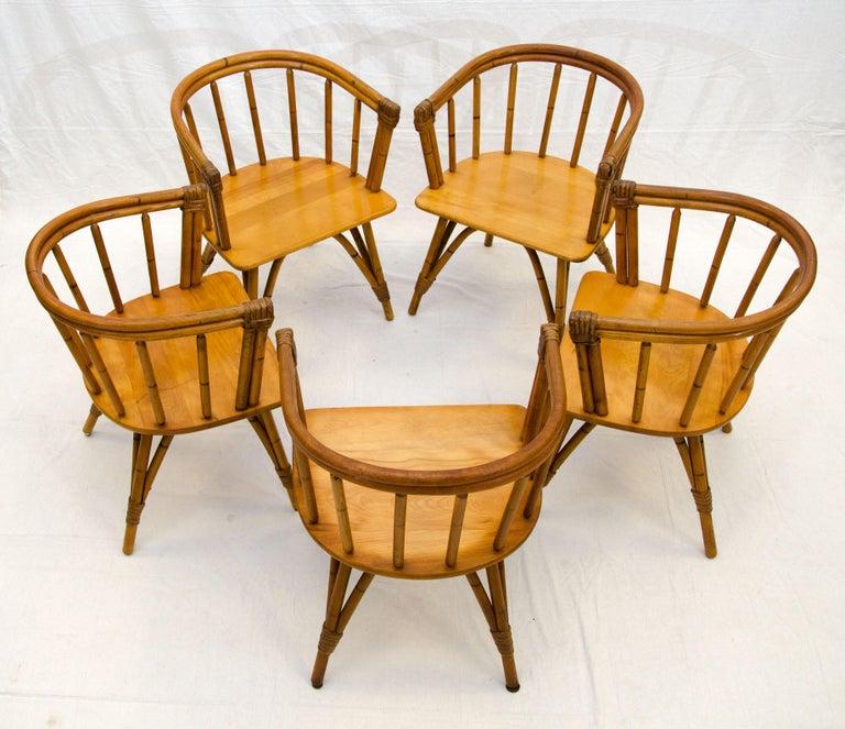 American Vintage Set of Five Captains Chairs, Heywood Wakefield