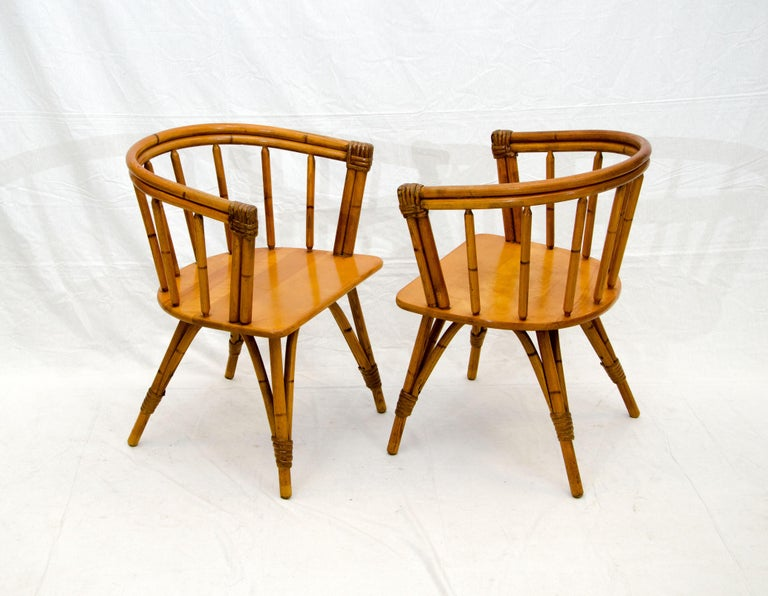 Papercord Vintage Set of Five Captains Chairs, Heywood Wakefield