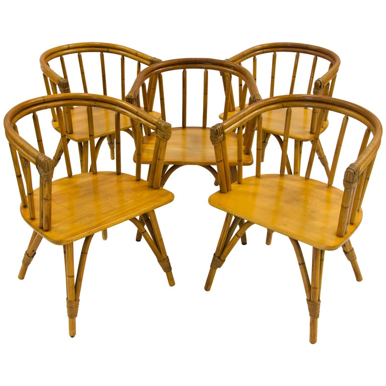 """Vintage Set of Five Captains Chairs, Heywood Wakefield """"Ashcraft"""" Line For Sale"""