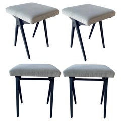Vintage Set of Four Compass Esavian Stools by James Leonard, Britain, 1950s