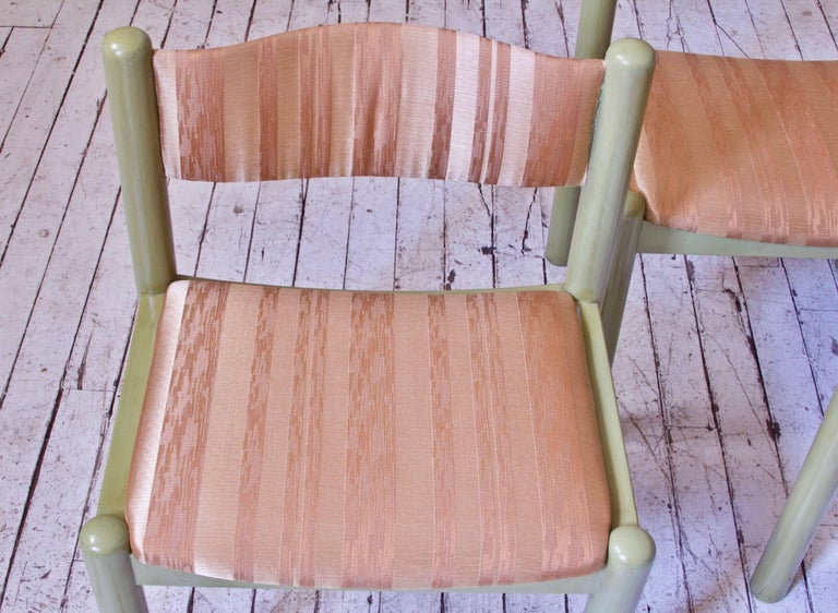 Vintage Set of Four Dining Chairs in Silk and Glazed Oak, Sweden, 1960s For Sale 5