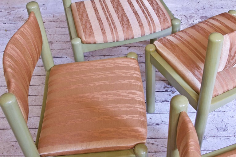 Vintage Set of Four Dining Chairs in Silk and Glazed Oak, Sweden, 1960s For Sale 6