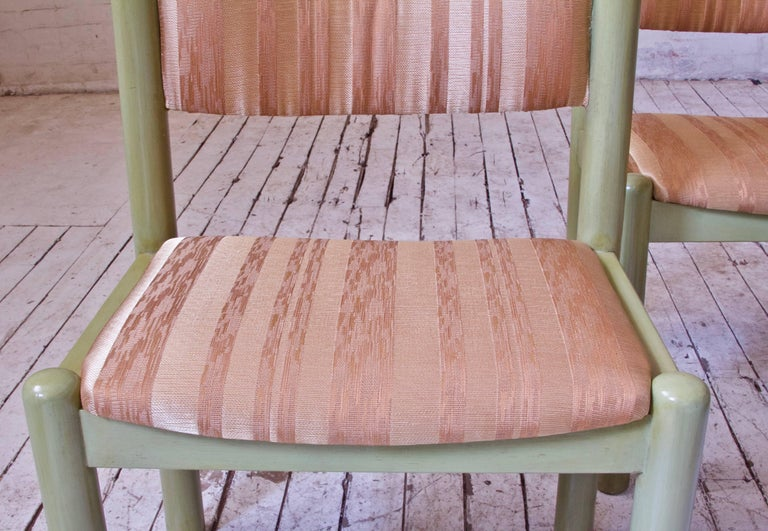 Vintage Set of Four Dining Chairs in Silk and Glazed Oak, Sweden, 1960s For Sale 7
