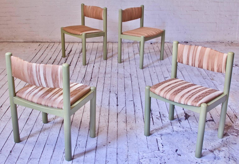 Interesting set of four vintage Swedish dining chairs with hand-glazed 'Verona Green' oak frames, reupholstered with a lovely textured apricot Italian silk blend. The variegated silk material contains multiple tones which catch the light differently
