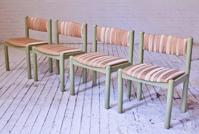Scandinavian Modern Vintage Set of Four Dining Chairs in Silk and Glazed Oak, Sweden, 1960s For Sale