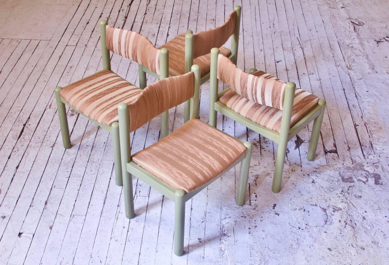 Mid-20th Century Vintage Set of Four Dining Chairs in Silk and Glazed Oak, Sweden, 1960s For Sale
