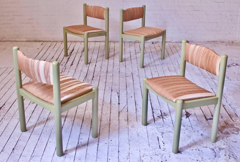 Vintage Set of Four Dining Chairs in Silk and Glazed Oak, Sweden, 1960s For Sale 2