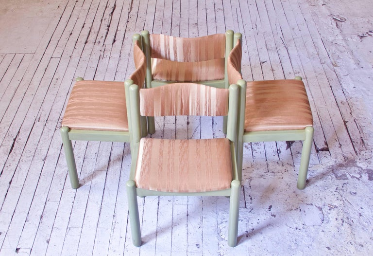 Vintage Set of Four Dining Chairs in Silk and Glazed Oak, Sweden, 1960s For Sale 3
