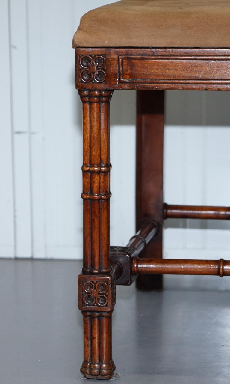 Vintage Set of Four Gothic Style Steeple Back Carved Wood Dining Chairs Must See For Sale 6