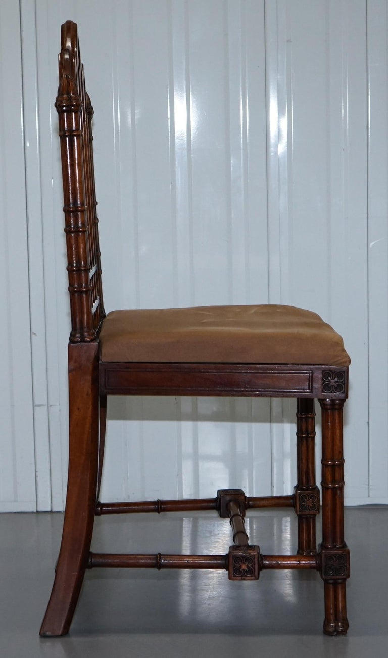 Vintage Set of Four Gothic Style Steeple Back Carved Wood Dining Chairs Must See For Sale 7