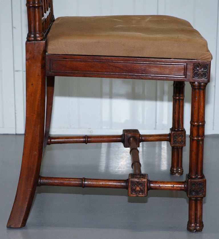 Vintage Set of Four Gothic Style Steeple Back Carved Wood Dining Chairs Must See For Sale 8