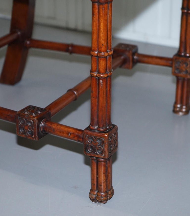 Vintage Set of Four Gothic Style Steeple Back Carved Wood Dining Chairs Must See For Sale 9