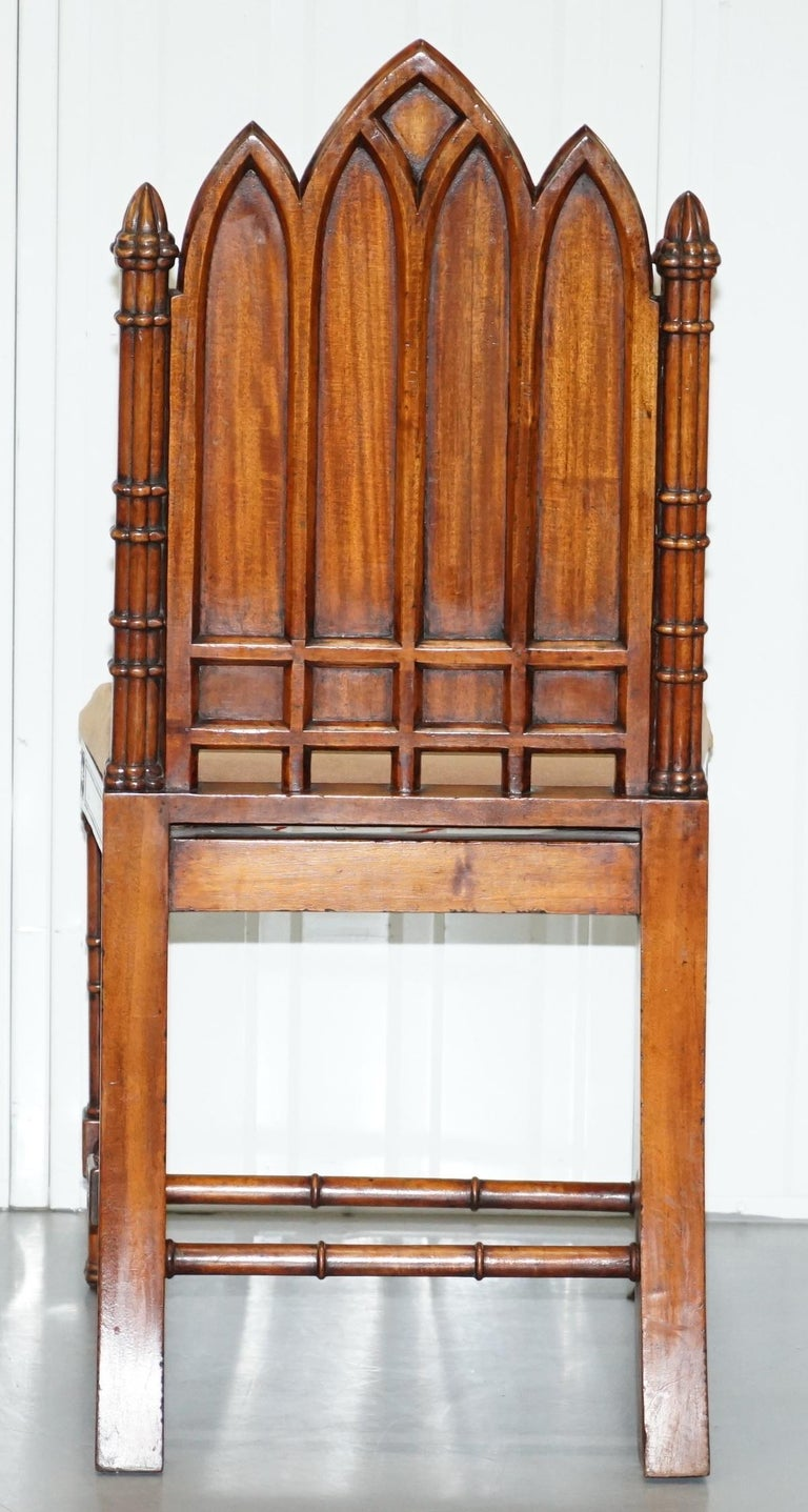Vintage Set of Four Gothic Style Steeple Back Carved Wood Dining Chairs Must See For Sale 12