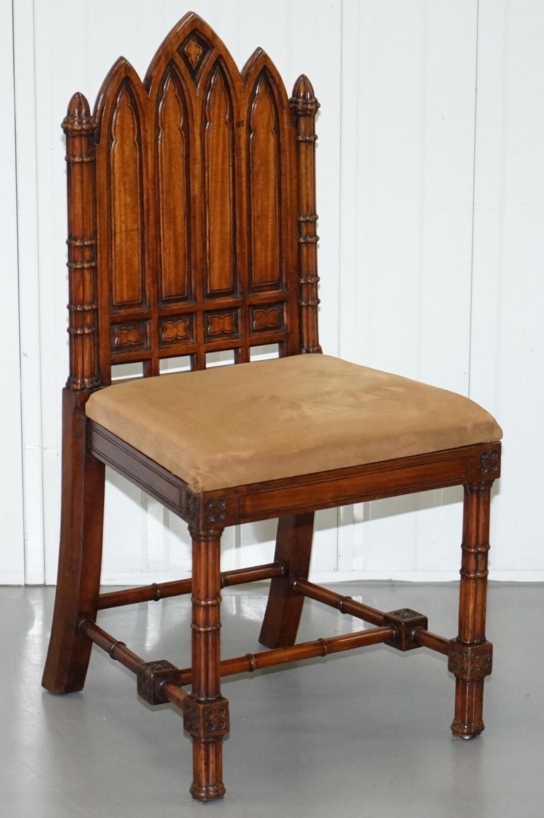 We are delighted to offer for sale this stunning set of four vintage hand carved Gothic style dining chairs  A very good looking and well made set, I bought them as they remind me of Chippendale's early 18th century designs, very Gothic Revival