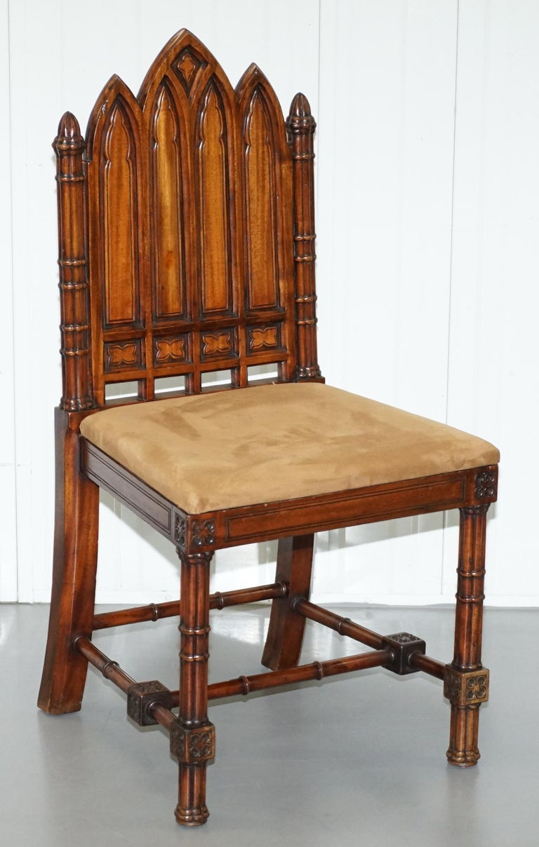 Vintage Set of Four Gothic Style Steeple Back Carved Wood Dining Chairs Must See For Sale 14