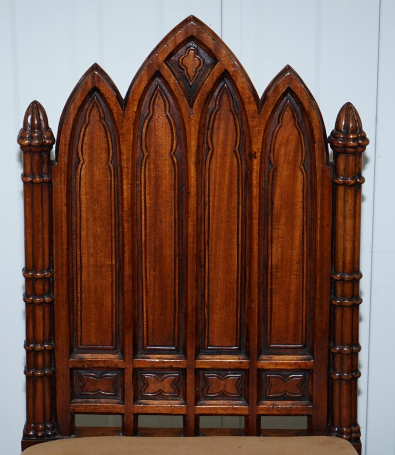 Hand-Crafted Vintage Set of Four Gothic Style Steeple Back Carved Wood Dining Chairs Must See For Sale