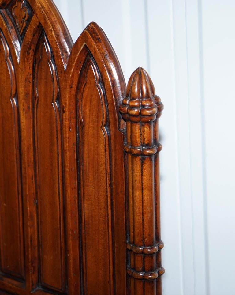 20th Century Vintage Set of Four Gothic Style Steeple Back Carved Wood Dining Chairs Must See For Sale